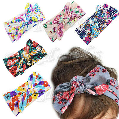 Baby Kids Girl Flower Bow Hairband Turban Knot Rabbit Headband Headwear TOP SALE