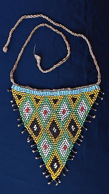 #3  Old  Kirdi Glass  Beaded Triangle Panel Apron Cache Sexe Cameroon