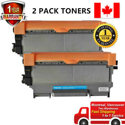 2pk Toner for Brother TN450 HL-2240 HL-2240D HL-2242D HL-2250DN HL-2270DW