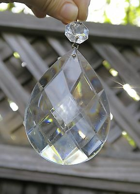 1 Vintage French drop Crystal Glass Prism Sconce Lamp Chandelier Part ITALY old