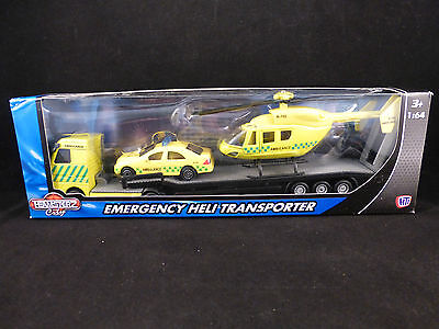 Emergency Services Transporter, Car & Helicopter Sets - Police Fire or Ambulance