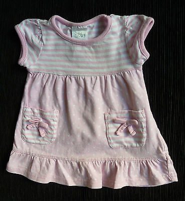 "Baby clothes GIRL 0-3m soft pink/white spotted cotton ""Baby"" dress SEE MY SHOP!"