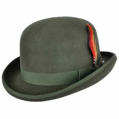 9820da2355c7 Quality OLIVE 100% Wool Bowler Hat with Removable Feather Satin Lined in  4sizes