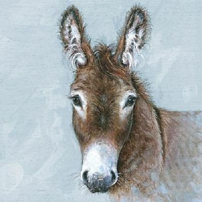 4 x Paper Napkins - Young Donkey - Ideal for Decoupage / Decopatch