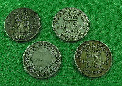 Great Britain 1859 1939 1942 1946 Six pence lot of 4 coins