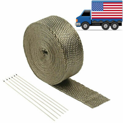 """Free Expedited Shipping  2"""" 50Ft Titanium Header Exhaust Heat Wrap +6 Ties Kit"""