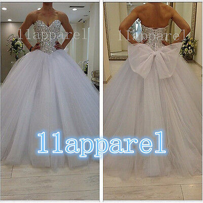 Amazing Ball Gown White/ivory Wedding Dresses Stone Bowknot Bridal Gown Custom