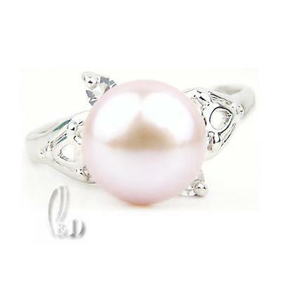 AU SELLER Chic Gorgeous Light Pink Genuine pearls Sparkling Ring 0902