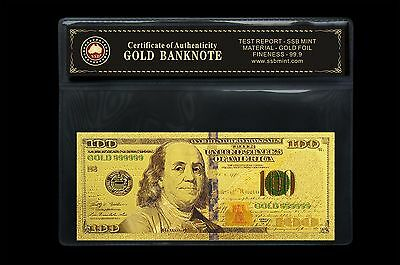 New Style Usa $100 24Kt Gold Limited Edition Coloured Polymer Bank Note