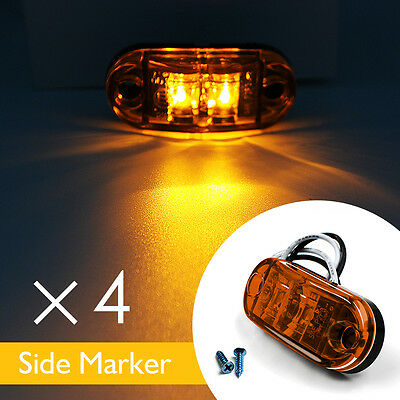 4 X Amber 2 Led Side Marker Indicators Lights Bus Truck Trailer E-Marked 10V-30V