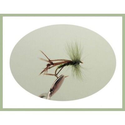 Trout Flie, 6 Hopper Fishing Flies, Olive Hackled Mixed Size 10/12, Dry Flies