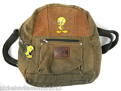 1999 Looney Tunes Tweety Bird Canvas & Leather Backpack Olive Green & Brown VG