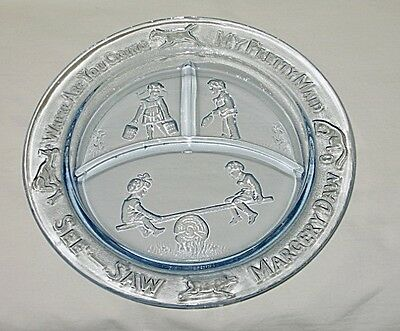 Tiara Exclusives Nursery Rhyme Pattern Blue Glass Child's Divided Plate
