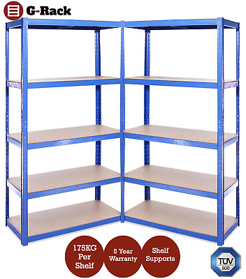 2 Bays of Steel 180x90x40cm Blue Garage Shed Shelving Racking Storage Units