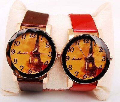 New 8pcs Charming girls women Tower Dial leather wrist watches gifts LK52