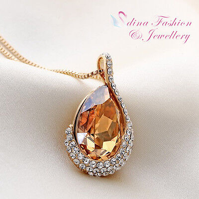 18K Yellow Gold Filled Made With Swarovski Element Gold Teardrop Necklace