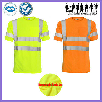 Hi Vis T Shirt ANSI/ISEA Class 2 Road Work Safety Short Sleeve High Visibility