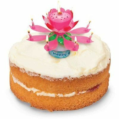 MUSICAL ROTATABLE UNIQUE LOTUS FLOWER HAPPY BIRTHDAY CANDLE Perfect Gift