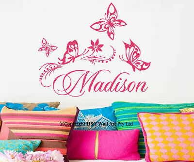 Butterfly Vines Custom Personalised Name Wall Stickers Kid Girls Nursery Decor