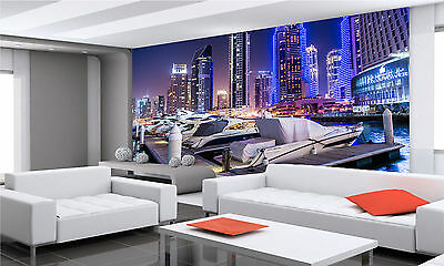 Dubai Night  City Wall Mural Photo Wallpaper GIANT DECOR Paper Poster Free Paste