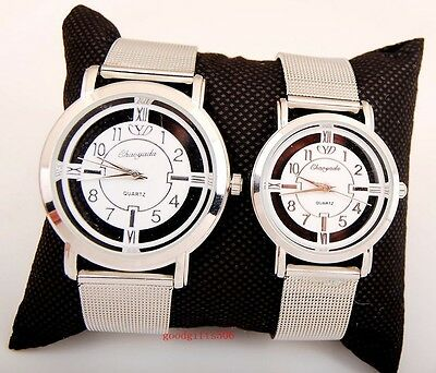 New 6pcs Charming women girls White Dial quartz Steel wrist watches gifts LK59