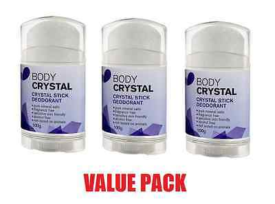 3 x Body CRYSTAL DEODORANT STICK 100g Free of Fragrance, Alum Chloro, Alcohol