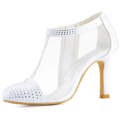 HC1524 White Closed Toe  Ankle Boots Satin Rhinestone Pumps Bridal Party Shoes