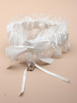 4897 Off White satin ribbon garter with glass crystal heart Wedding Bride Hen