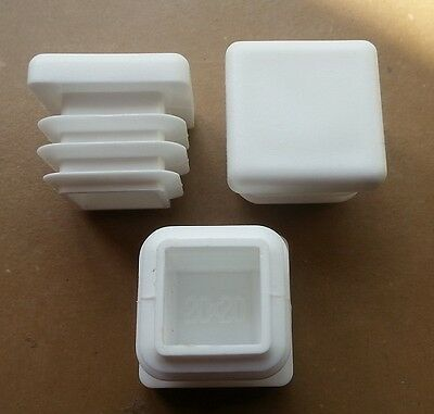 20mmx20mm Square Plastic End Caps Blanking Plugs Tube Box Section Inserts /White