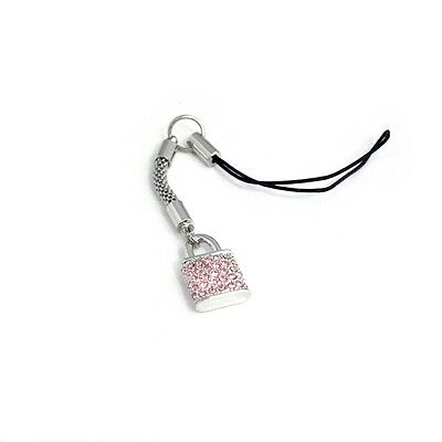 King of Flash 2 x Padlock Pendant Pink Silver Mobile Phone Charm Accessory
