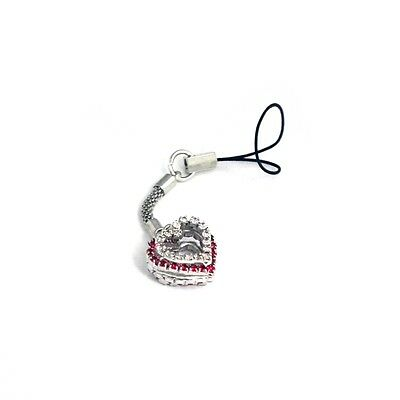 King of Flash 2 x Heart Pendant Red Silver Mobile Phone Charm Accessory