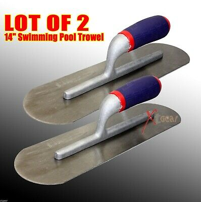"Lot of (2) 14"" x 4""Swimming Pool Trowel 85C Finishing Concrete w/ Soft Handle"