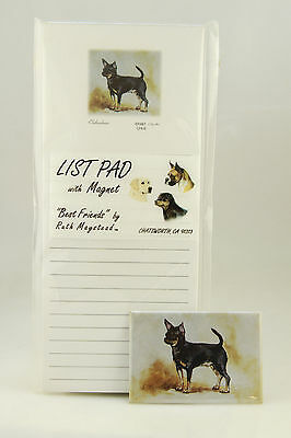 Chihuahua Black Brown ~Magnetic List Pad & Matching Refrigerator Magnet