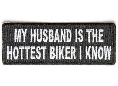 MY HUSBAND IS THE HOTTEST Embroidered Vest Funny Saying Biker Patch Emblem