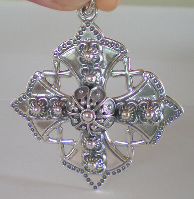 Byzantine Silver Cross - Large Ornate - Hand Made in Greece - 925