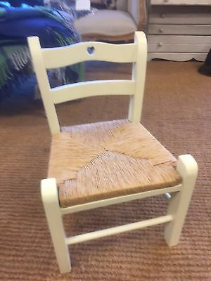 white Mini Children's Wooden Chair Rush Seat painted Child's Chair infant gift