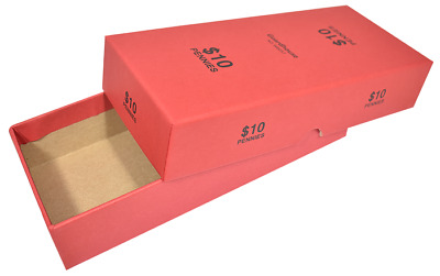 Penny Coin Roll RED Storage Box MMF Holds 20 Rolls Tubes Pennies Cent Holder