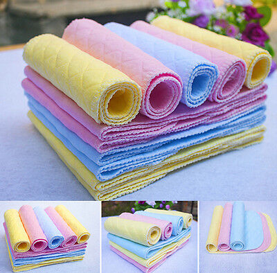 5PCS Reusable Baby Modern SSU H Cloth Diaper Nappy Liners insert 3 Layers Cotton