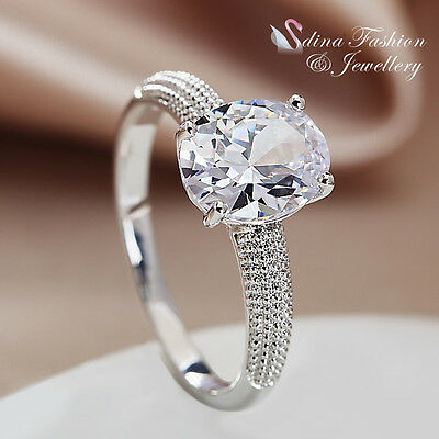 18K White Gold Plated Cubic Zirconia Stunning Single Oval Cut Engagement Ring