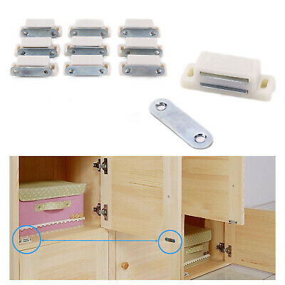10PCS White Magnetic Door Catches Cupboard Wardrobe Cabinet Latch Catch