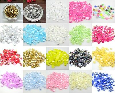 NEW Half Round Pearl Bead Flat Back Scrapbook for Craft 22colors