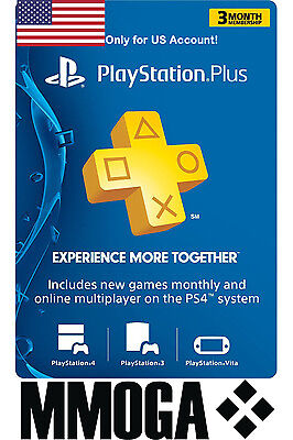 PlayStation Plus 3 Monate (90 Tage) PSN Network Card - US Store PS3/PS4/PSvita