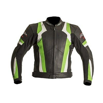 RST Blade Leather Motorcycle Motorbike Jacket Green New CE Back Armour