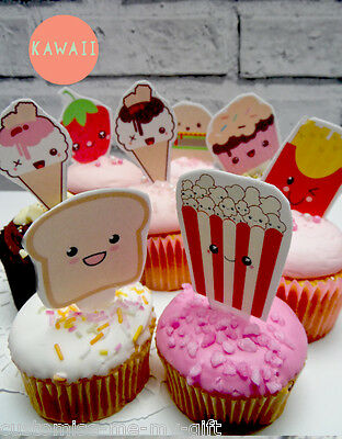 8 x Kawaii food face Edible Pop Top cake cupcake decorations | Birthday