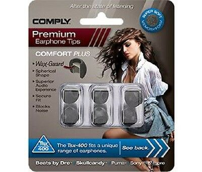 Comply Foam Ear Tips Comfort Plus Tsx-400 Black - 3 Pairs