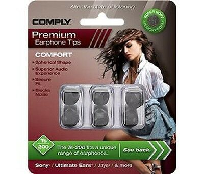Comply Foam Ear Tips Comfort Ts-200 Black - 3 Pairs
