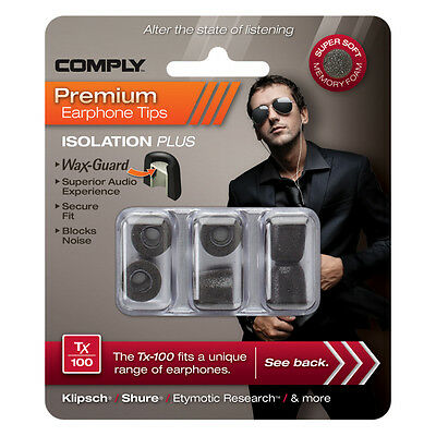 Comply Foam Ear Tips Isolation Plus Tx-100 Black - 3 Pairs