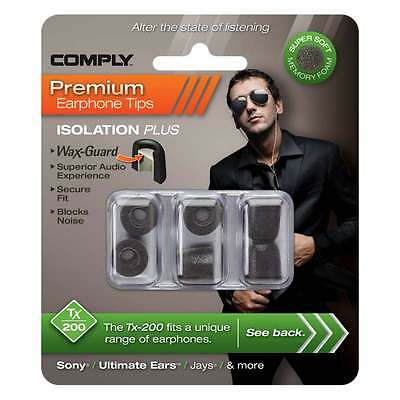 Comply Foam Ear Tips Isolation Plus Tx-200 Black - 3 Pairs
