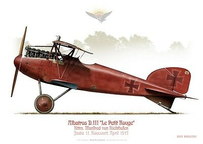 "Print Albatros D.III, M. von Richtfofen ""The Red Baron"", 1917 (by D. Douglass)"
