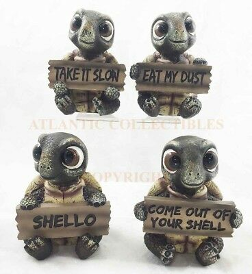 Baby Sea Turtles Holding Funny Saying Signs Set of 4 Figurines Animal Collection